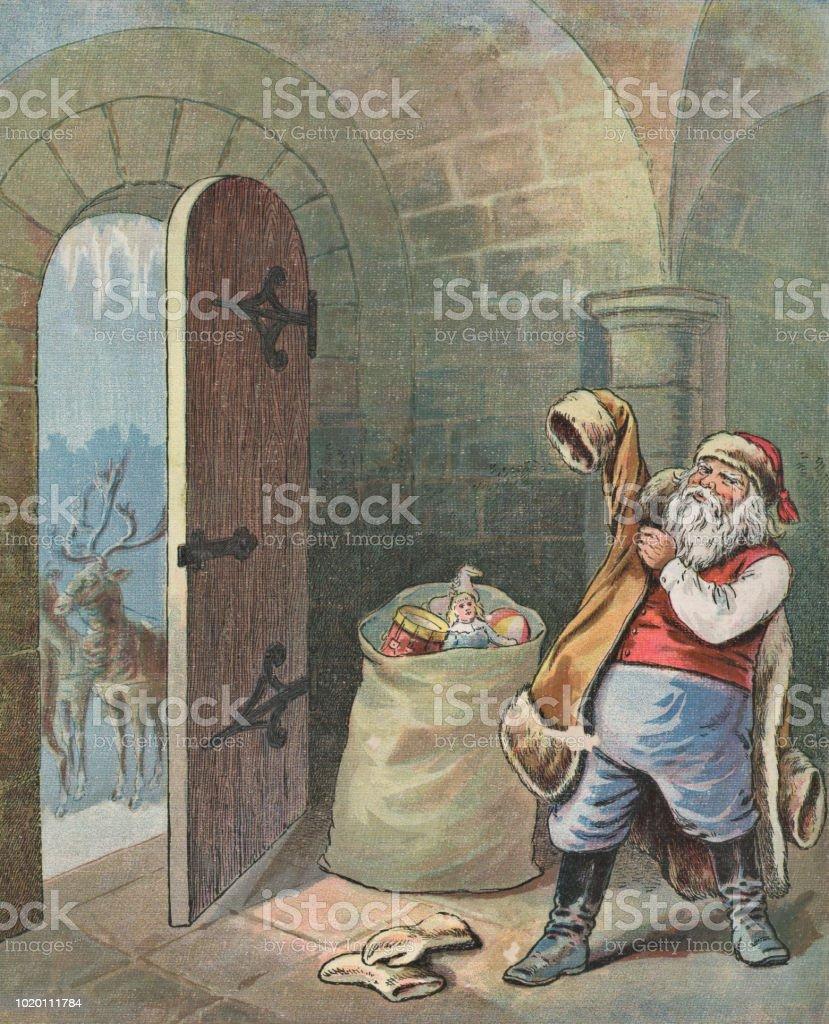 Christmas Illustrations Vintage.Vintage Santa Claus Leaving On Christmas Eve Stock