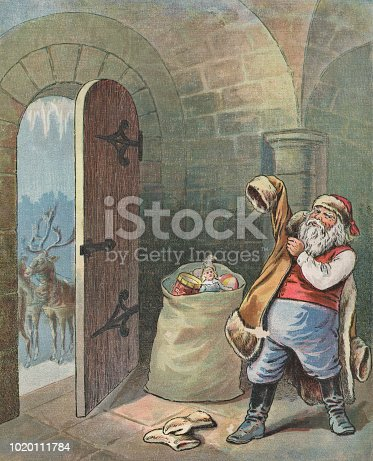 Vintage illustration of Santa Claus getting ready to leave the north pole on Christmas. Vintage etching on linen circa late 19th century.