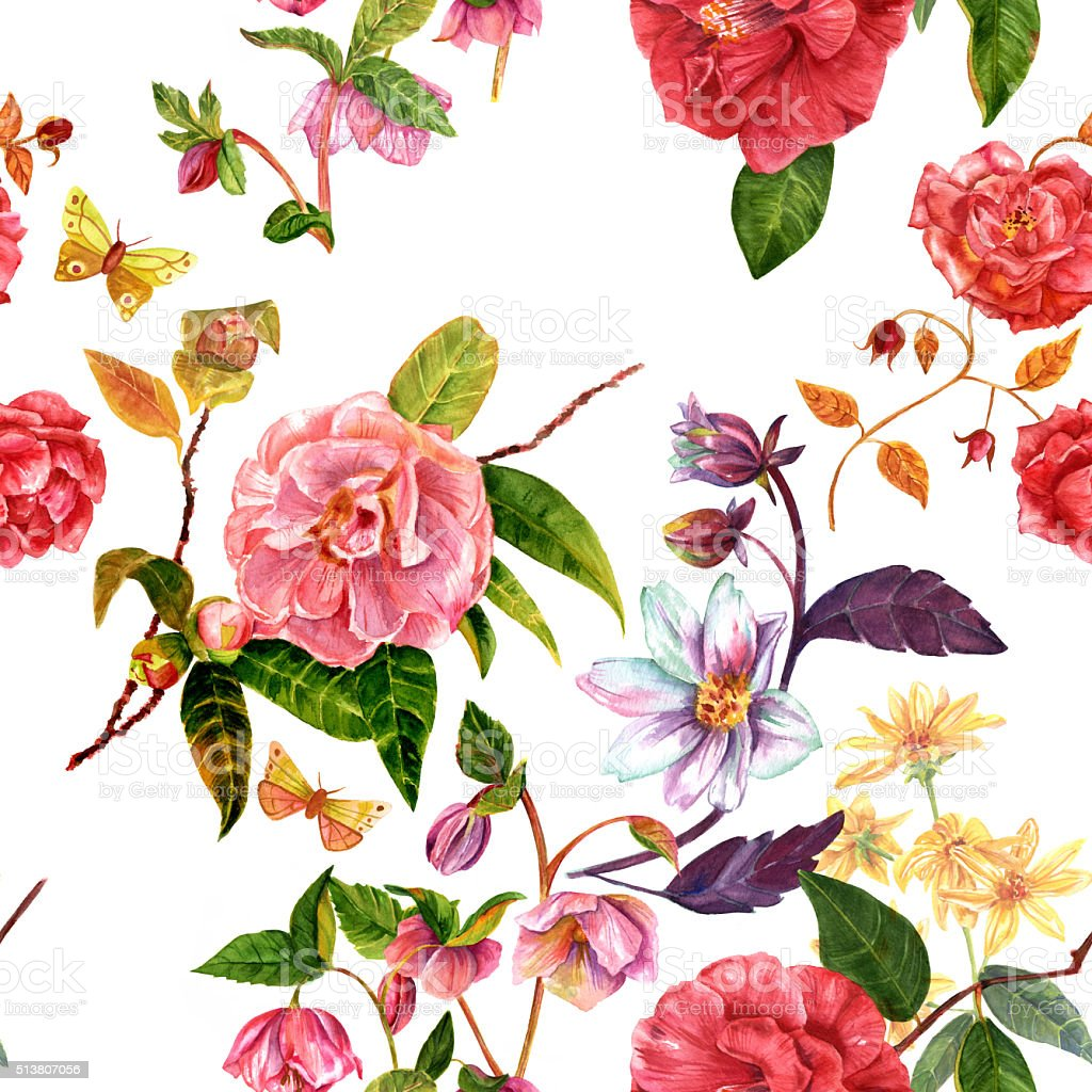 vintage seamless background pattern with watercolor