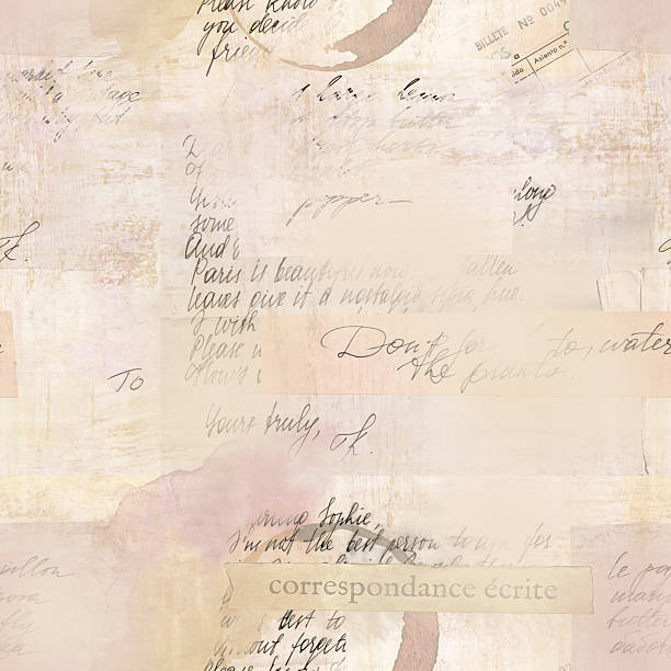 Vintage seamless pattern with fragments of letters and old paper Vintage style seamless pattern with fragments of letters and old paper textures. Visible text includes 'written correspondence' in French and 'ticket number' in Spanish. Toned background book backgrounds stock illustrations