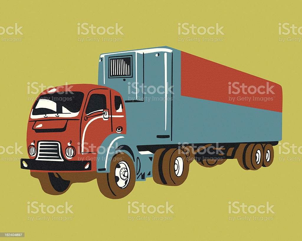 Vintage Semi Truck royalty-free stock vector art