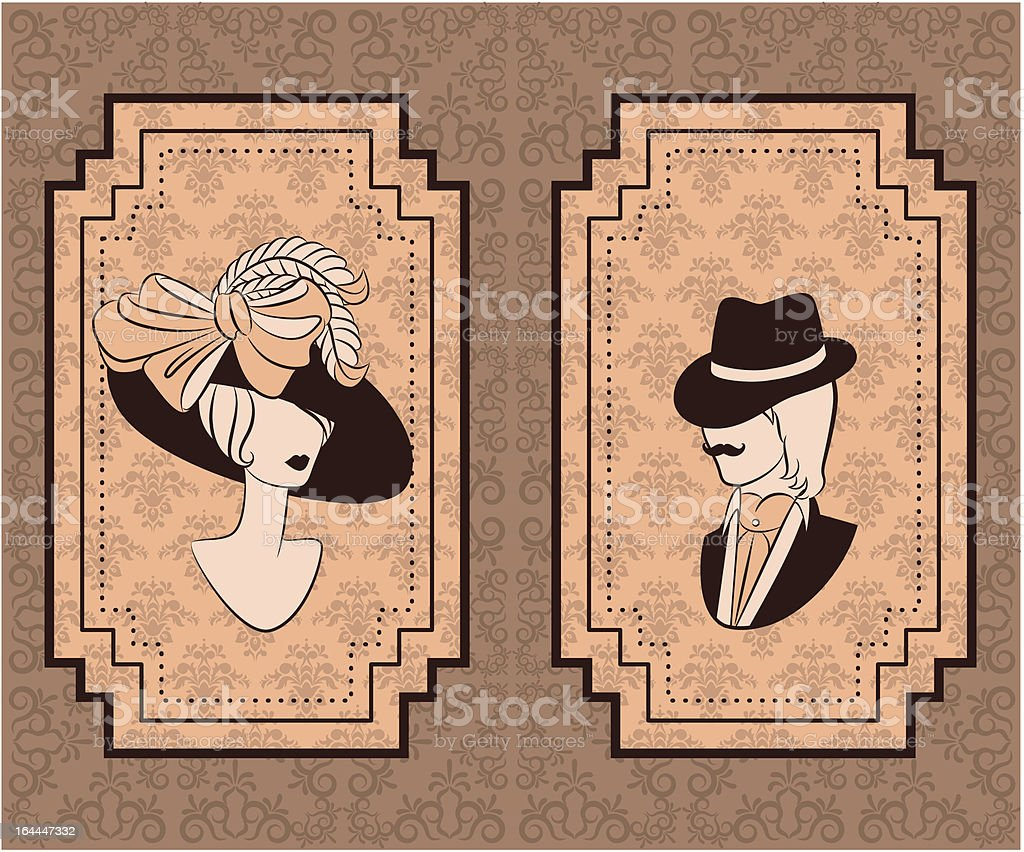 Vintage silhouette of woman with man in hat. Vector royalty-free stock vector art