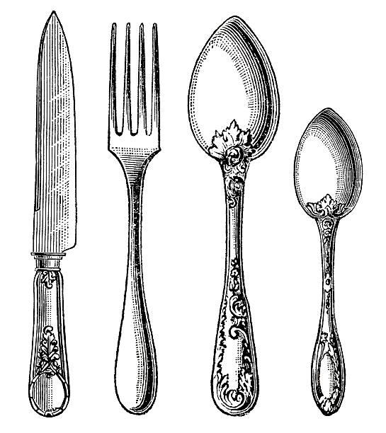 bildbanksillustrationer, clip art samt tecknat material och ikoner med vintage silverware. knife, fork and spoon - ancient white background