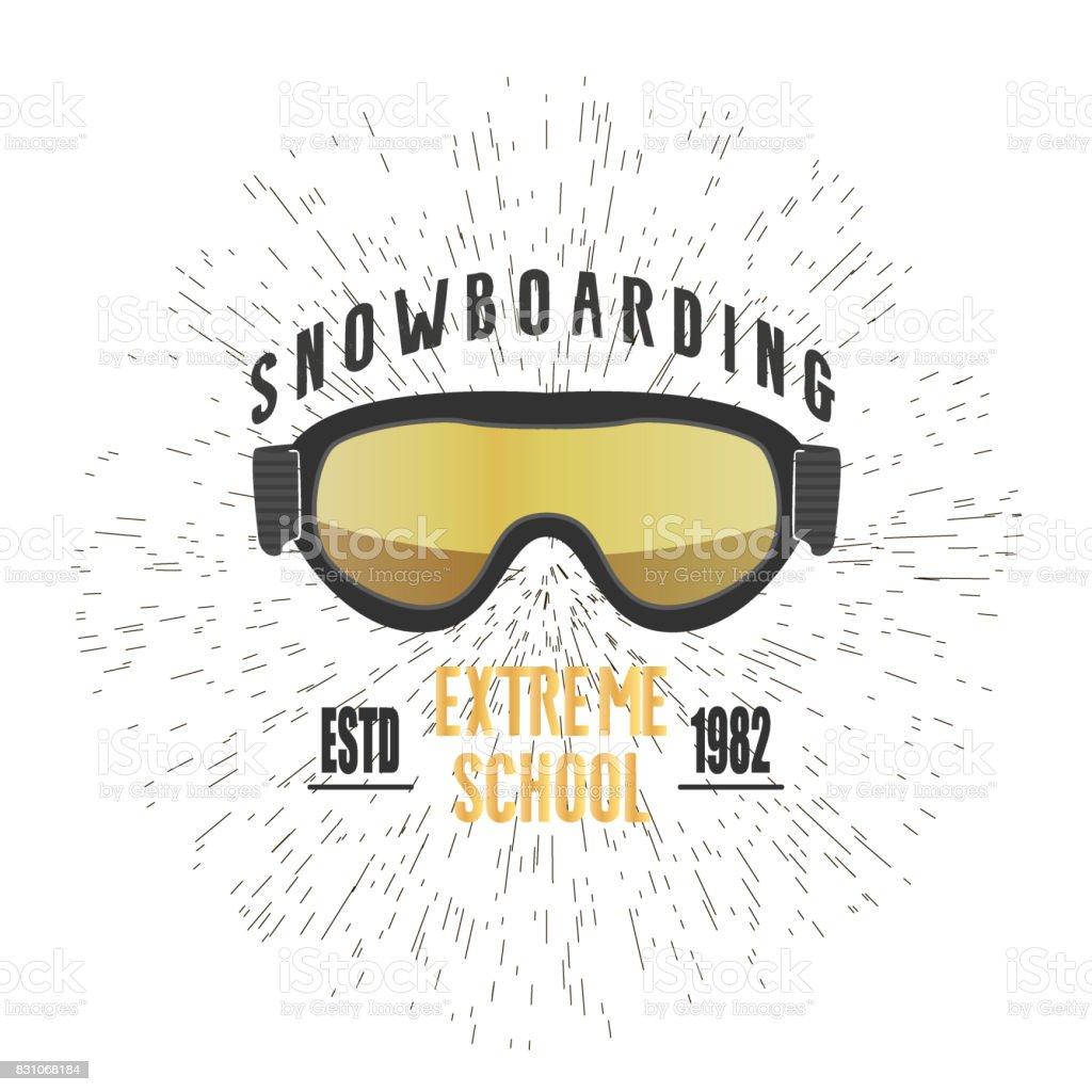 Vintage snowboarding or winter sports logo, badge, emblem design. ski...