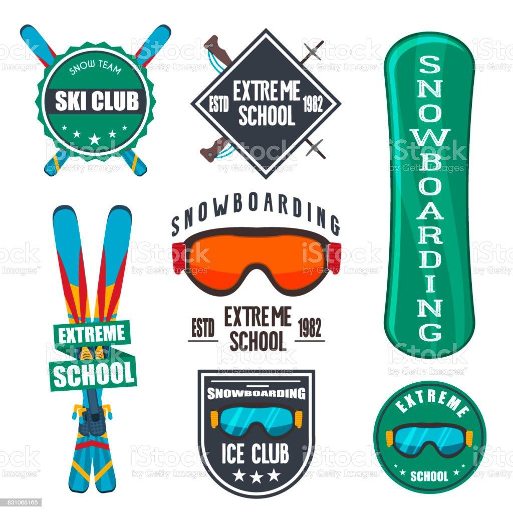 Vintage snowboarding or winter sports logos, badges, emblems design....