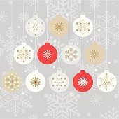 Twelve stylish hanging christmas baubles on a silver snowflake silhouette background.