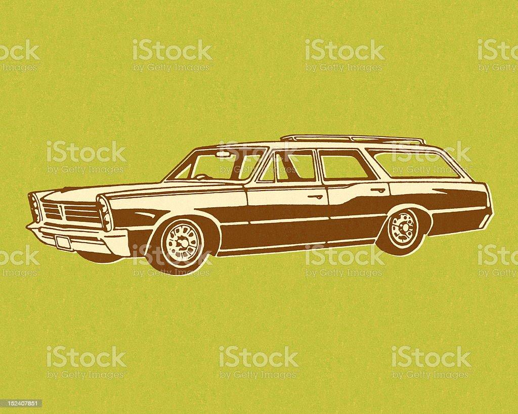 Vintage Station Wagon on Green Background vector art illustration
