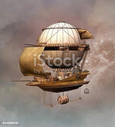 Vintage steampunk airship - 3D illustration