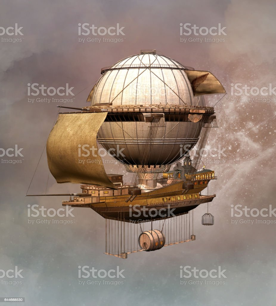 Vintage steampunk airship vector art illustration