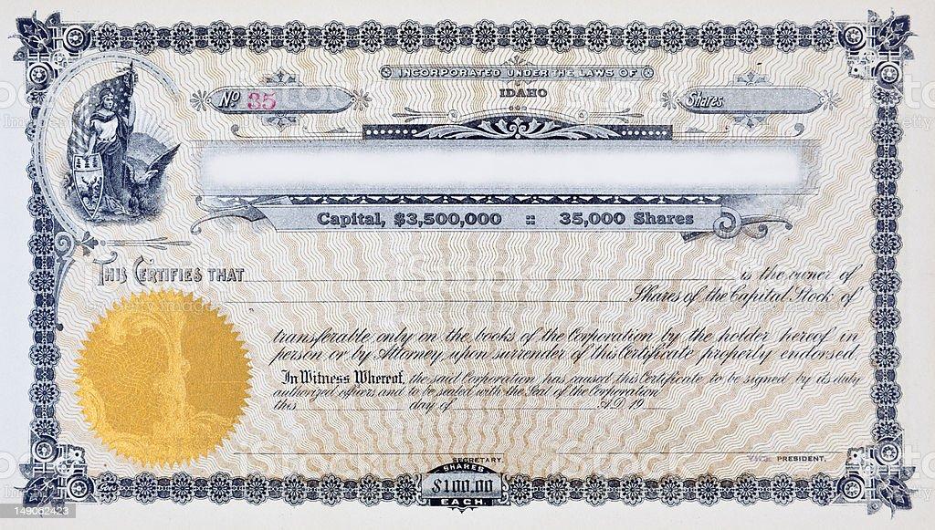 XL Vintage Stock Certificate Vignette Woman American Flag Moose Eagle vector art illustration