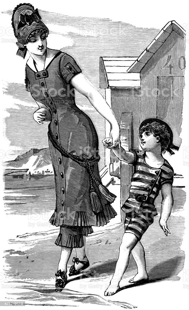 Vintage style drawing of a woman and her child in a swimsuit royalty-free stock vector art