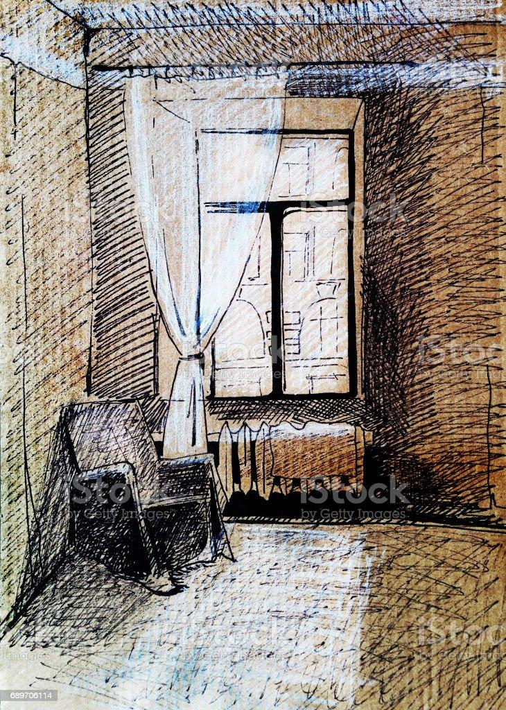 Vintagestil Zimmer Handgezeichnete Aquarell Abbildung Stock Vektor
