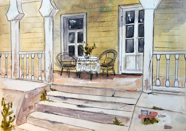 Vintage terrace, watercolor hand drawn illustration Vintage terrace, watercolor hand drawn illustration porch stock illustrations