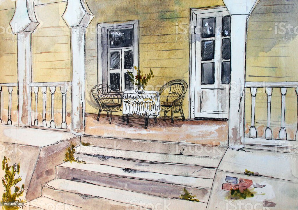 Terrasse Vintage Illustration Aquarelle Dessines A La Main