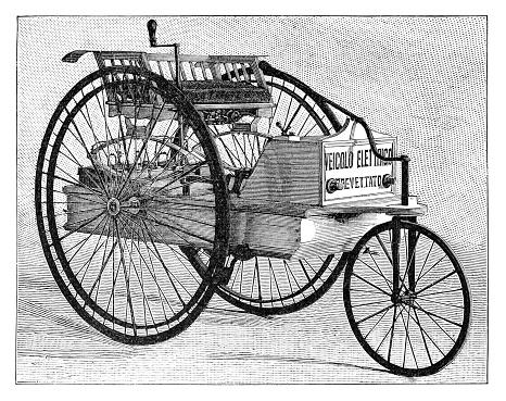 Vintage Tricycle electric car 1894
