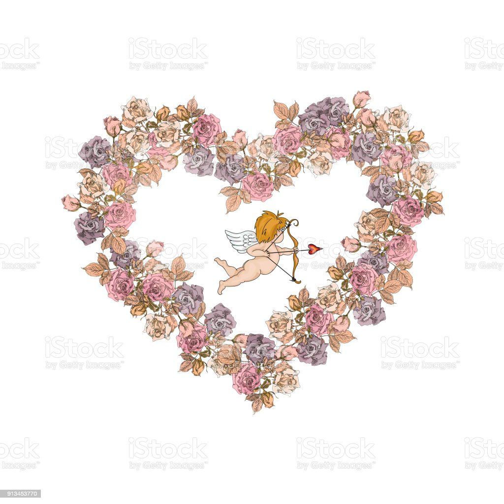 Vintage Valentine Tag Amor In Vintage Rosen Rahmen Isoliert Auf ...