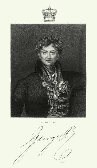 Vintage, Vintage, King George IV of the United Kingdom, English Victorian Engraving, 1840