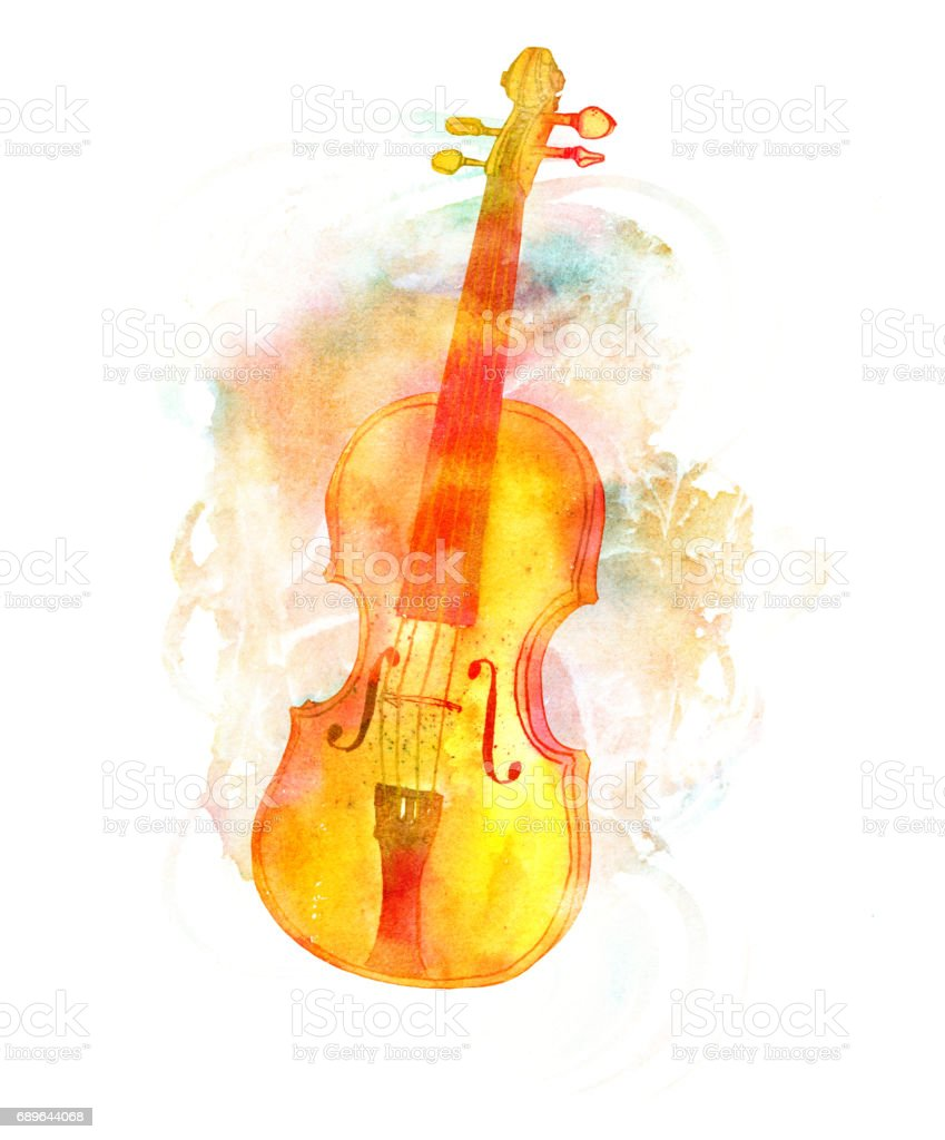 Vintage Violin With Faded Watercolor Texture And Copyspace Stock ...