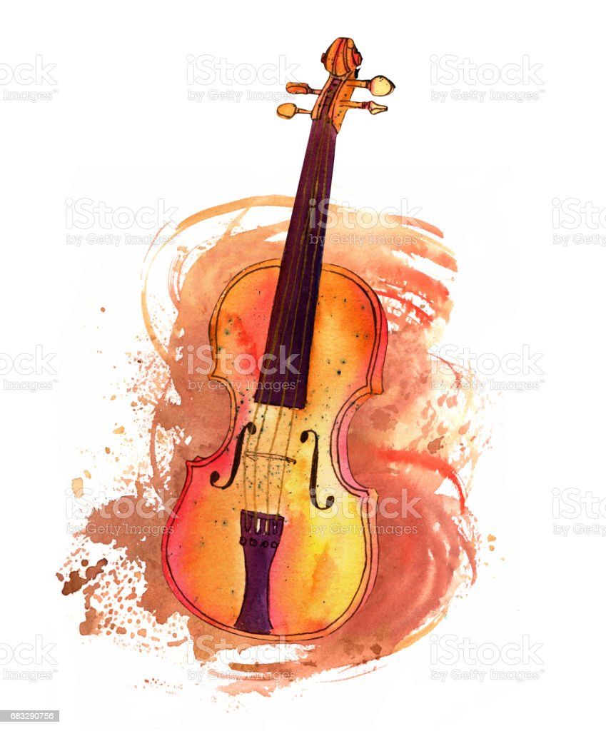 Vintage Violin With Watercolor Texture And Copyspace Royalty Free