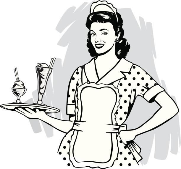 illustrazioni stock, clip art, cartoni animati e icone di tendenza di vintage cameriera - cameriera