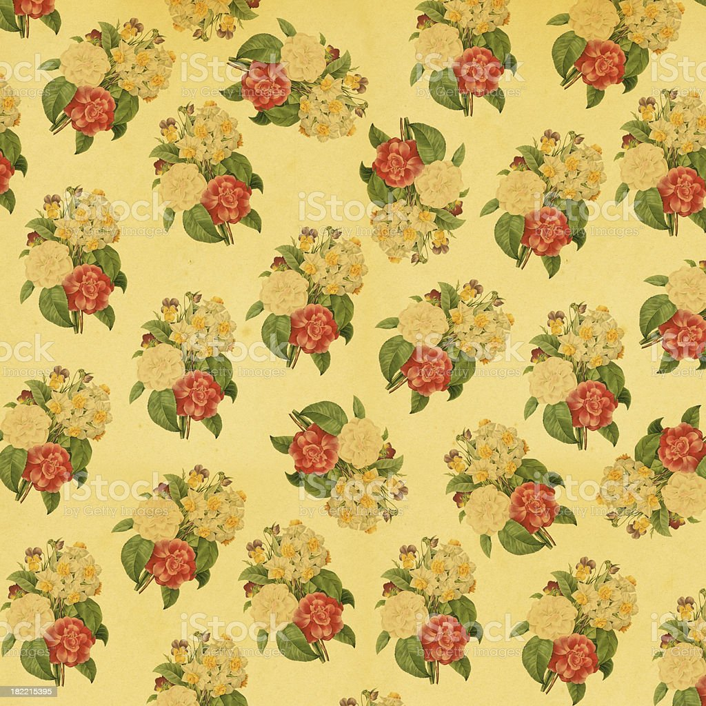 Vintage Wallpaper with Flowers | Antique Flower Illustrations royalty-free stock vector art