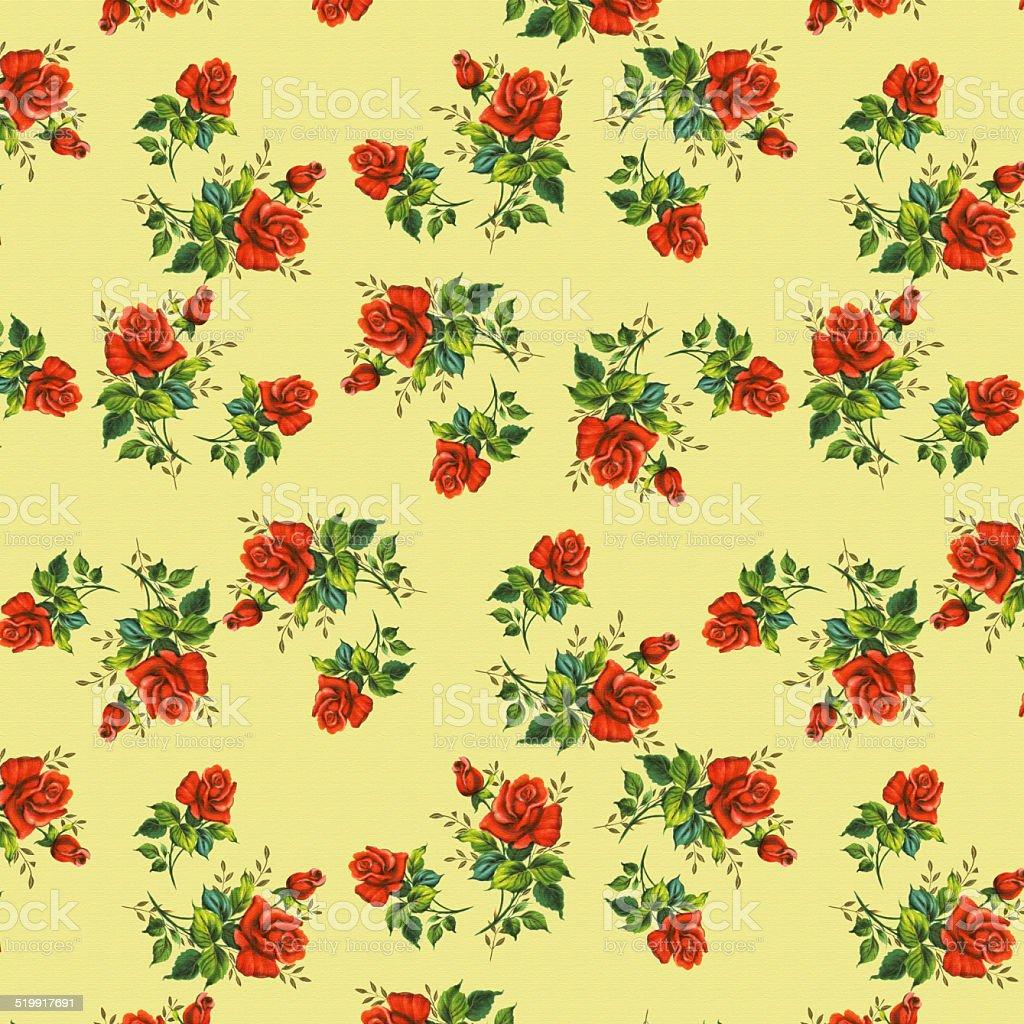 Papier Peint Vintage Avec Un Roses Sur Fond Jaune Cliparts