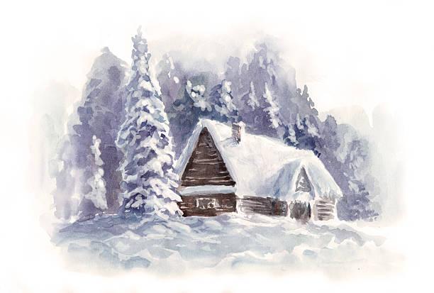 stockillustraties, clipart, cartoons en iconen met vintage watercolor christmas card - christmas cabin