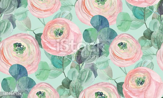 istock vintage watercolor pattern with delicate roses and eucalyptus on a light background 1324447124