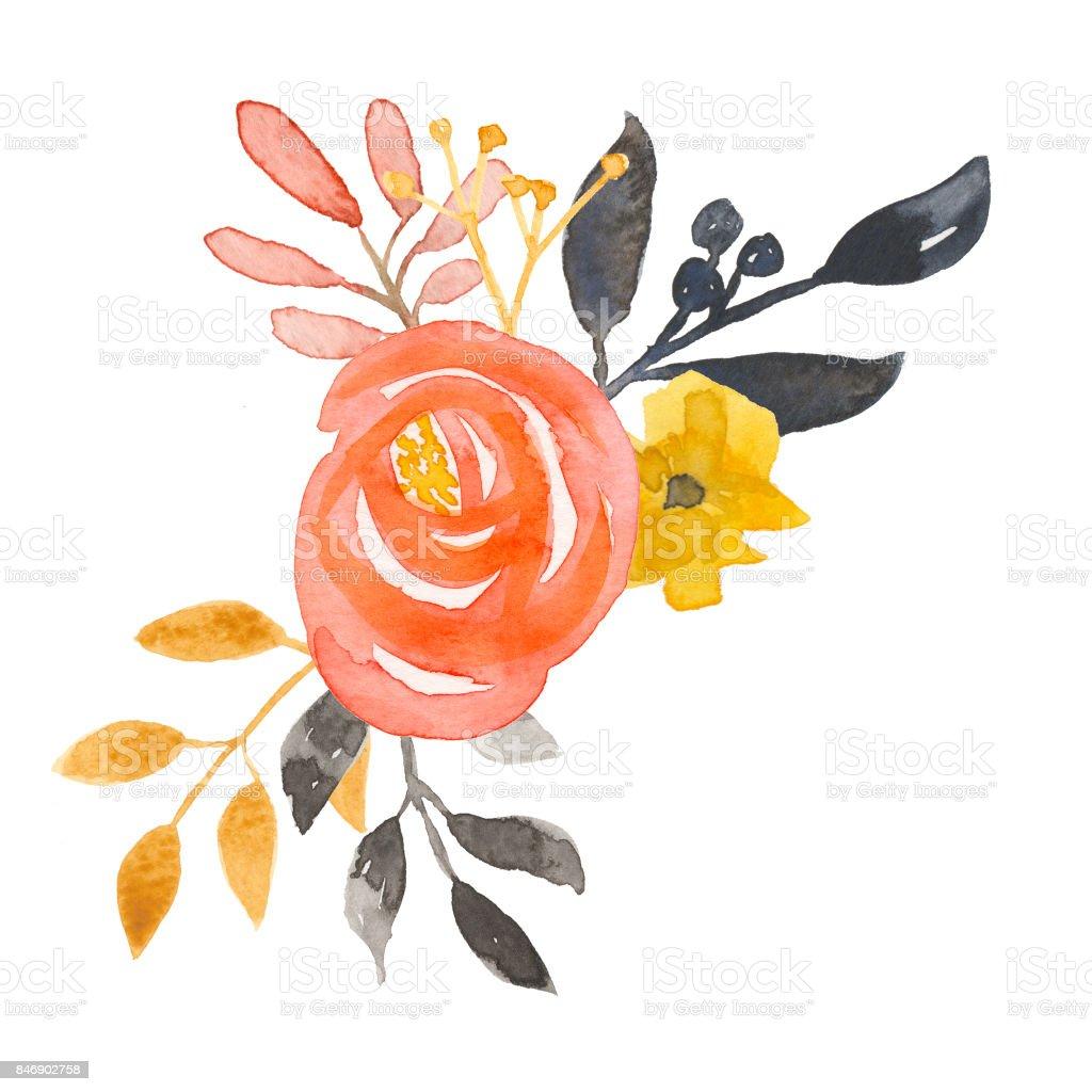 Vintage Watercolour Flower Bouquet Autumn Hand Painted ...