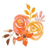 Vintage Watercolour Flower Bouquet Autumn Hand Painted