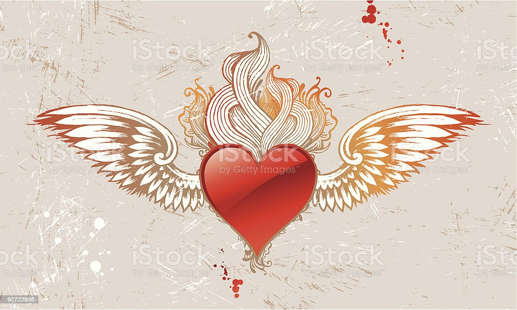 Vintage winged heart royalty-free stock vector art