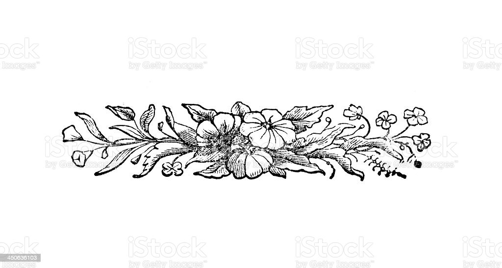 Vintage Woodcut Artwork floral illustration stock photo