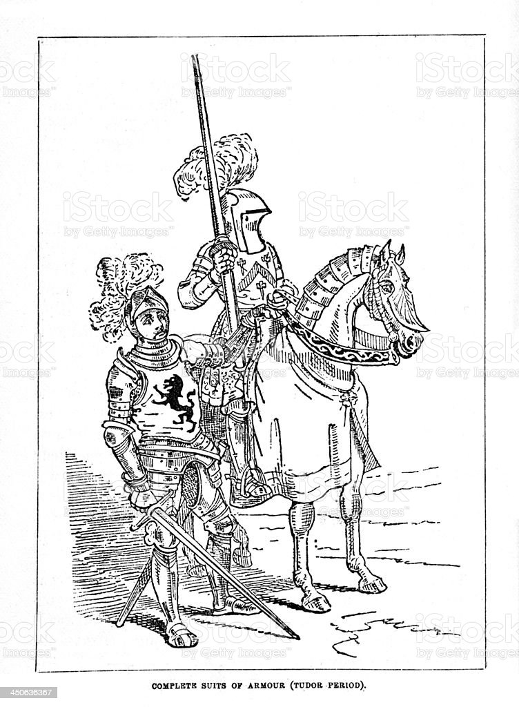 Vintage Woodcut Artwork Tudor Armour Suits Knights stock photo