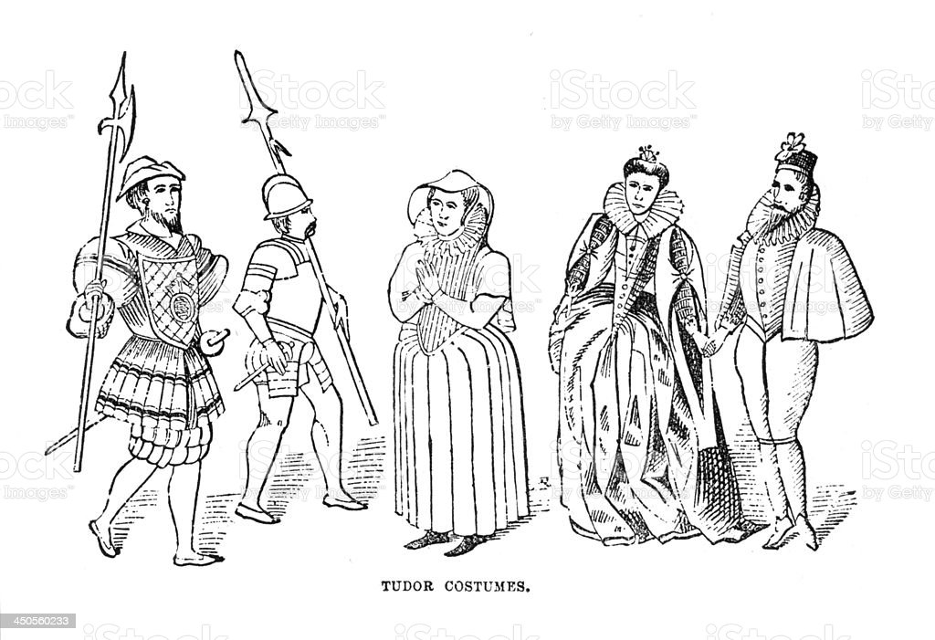 Vintage Woodcut Artwork Tudor Costumes royalty-free stock photo