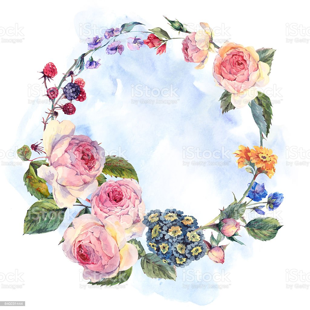 Vintage wreath of flowers bouquet with english roses stock vector vintage wreath of flowers bouquet with english roses royalty free vintage wreath of flowers bouquet izmirmasajfo