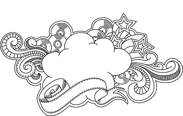 Vinyl Cloud vektorkonstillustration