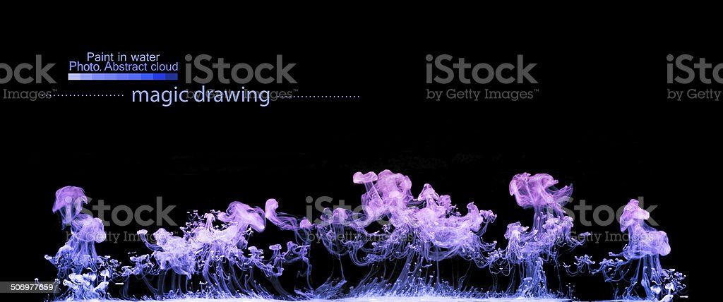 Violet clouds of paint in water. vector art illustration