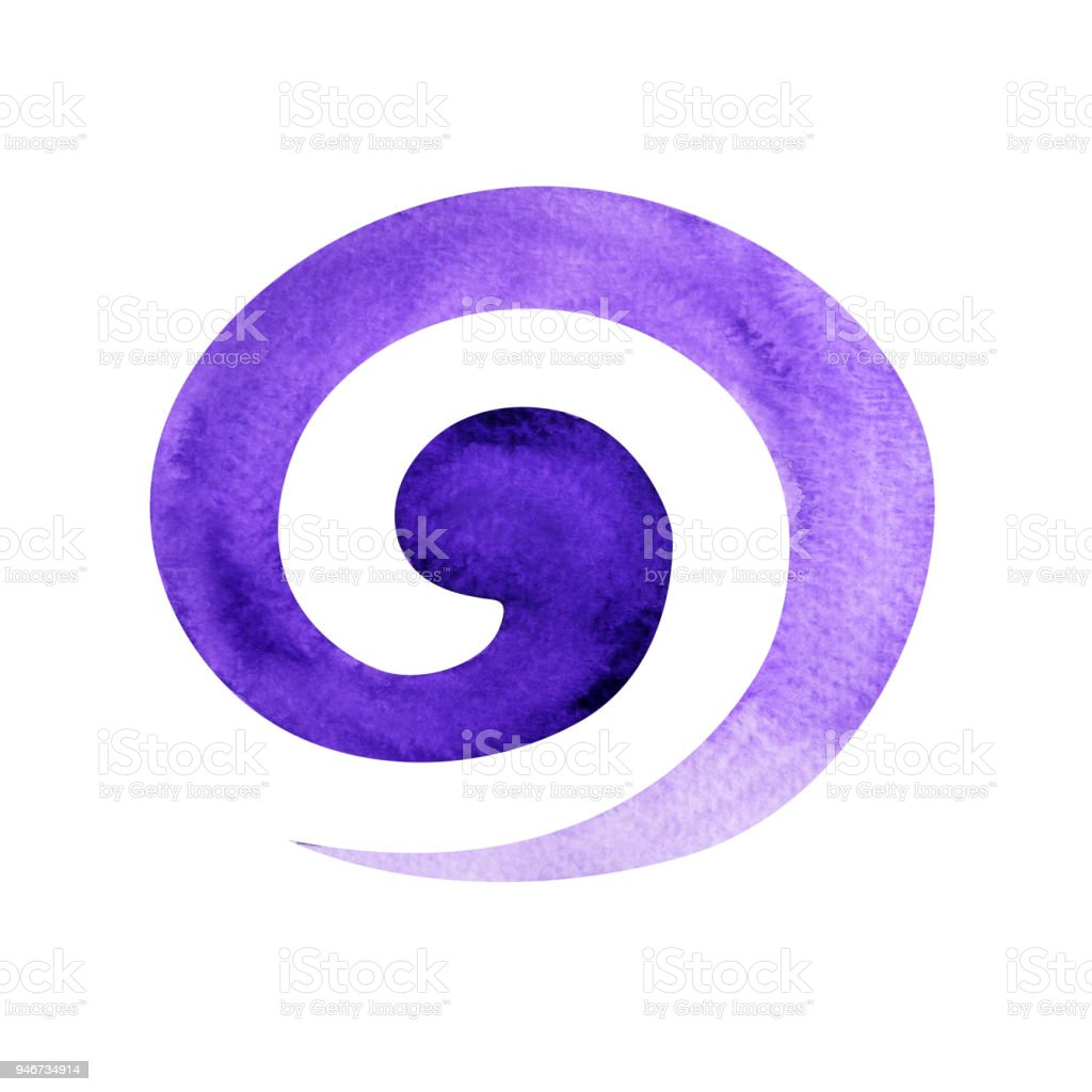 Violet Color Of Crown Chakra Symbol Spiral Concept Watercolor