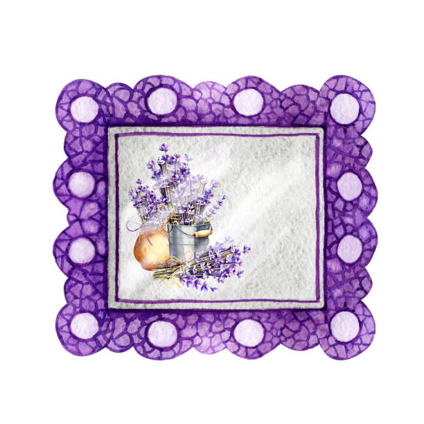 illustrazioni stock, clip art, cartoni animati e icone di tendenza di violet frame border baguette with a pattern for paintings and photographs. hand drawn watercolor illustration isolated on white background close-up. design of mocap, presentation, lettering - formare pane