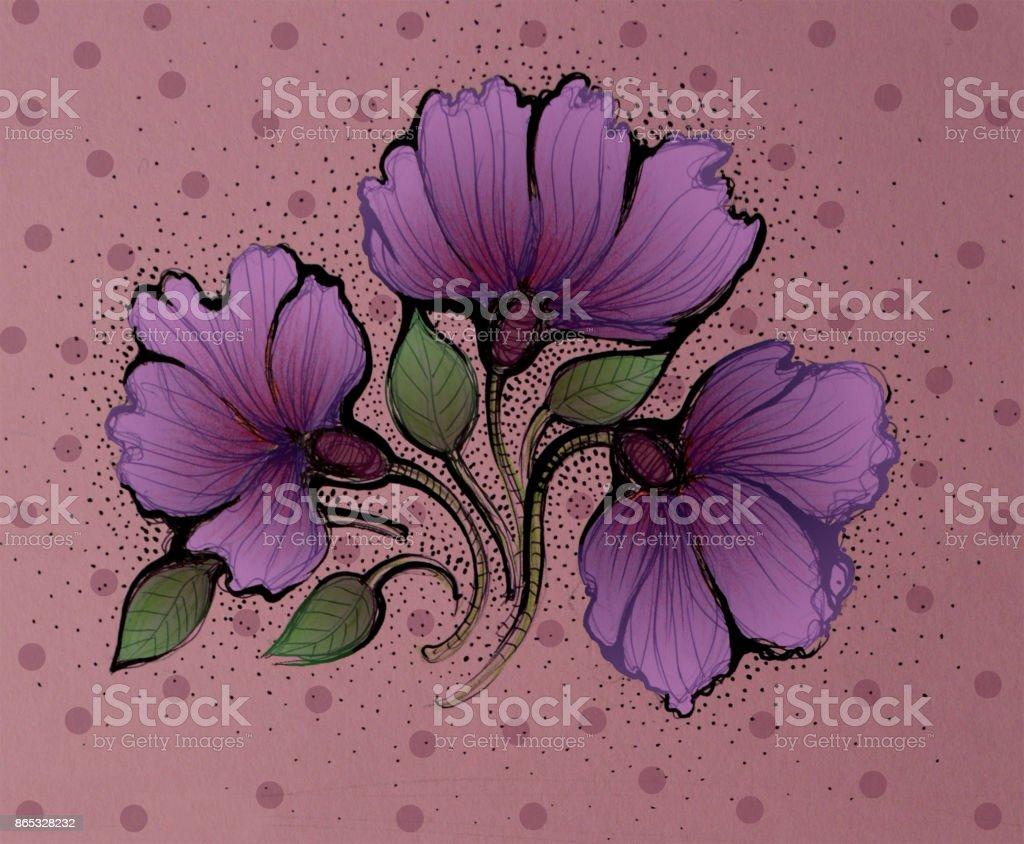 Violet spring flowers. Illustration. vector art illustration