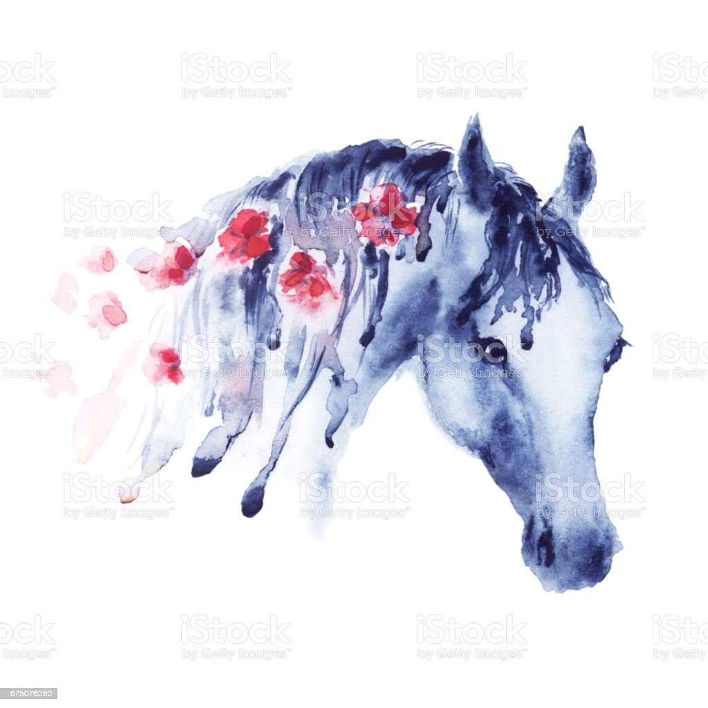 Violet Watercolor Horse Head Portrait With Red Flowers In Mane Stock Illustration Download Image Now Istock