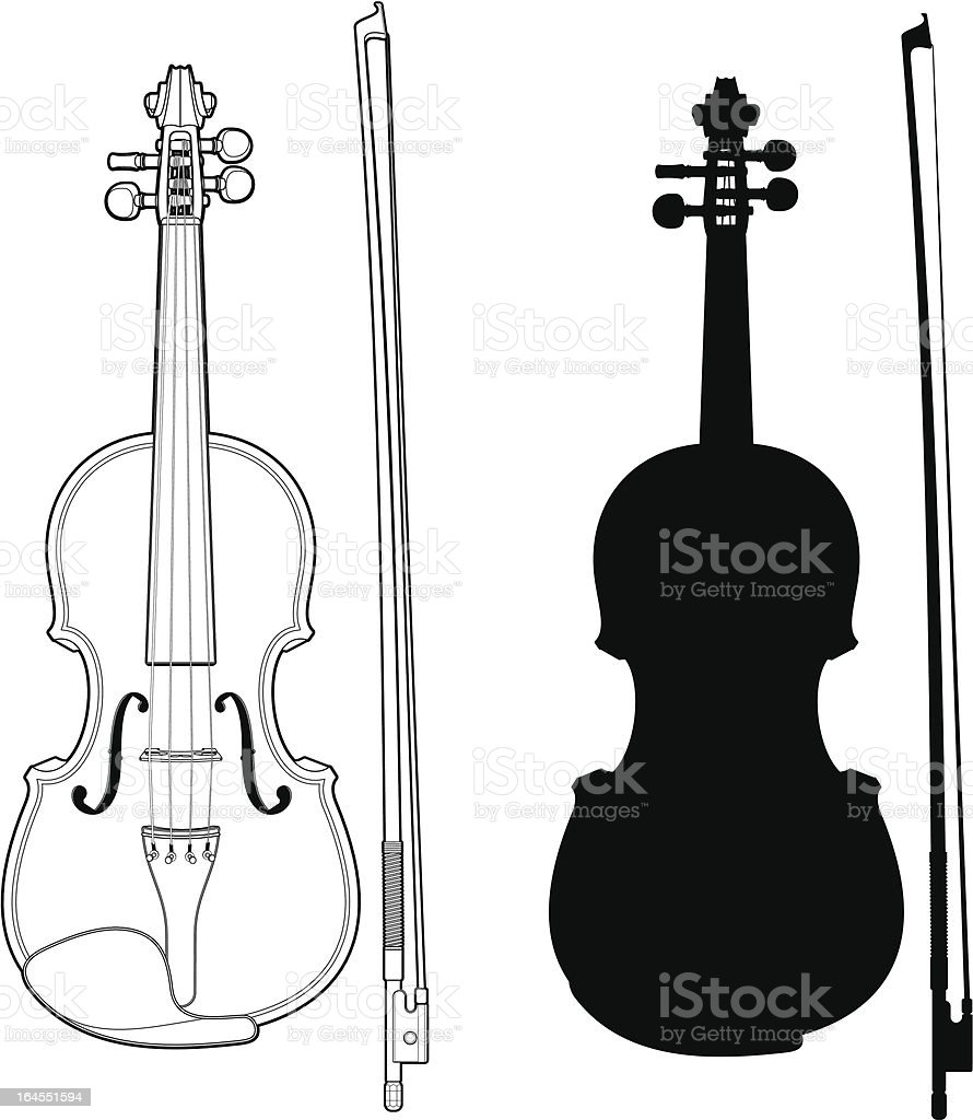 Violin with bow Technical illustration of a violin with bow and silhouette. Arts Culture and Entertainment stock vector