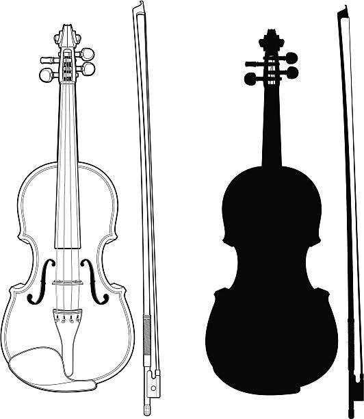stockillustraties, clipart, cartoons en iconen met violin with bow - viool