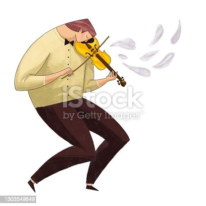 istock Violinist, musician, violin player. Color illustration 1303549849