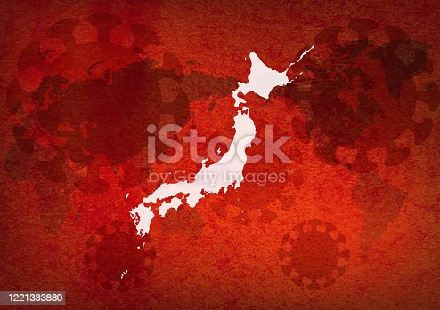 istock Viral Images Around the World - Red World Map Background 1221333880