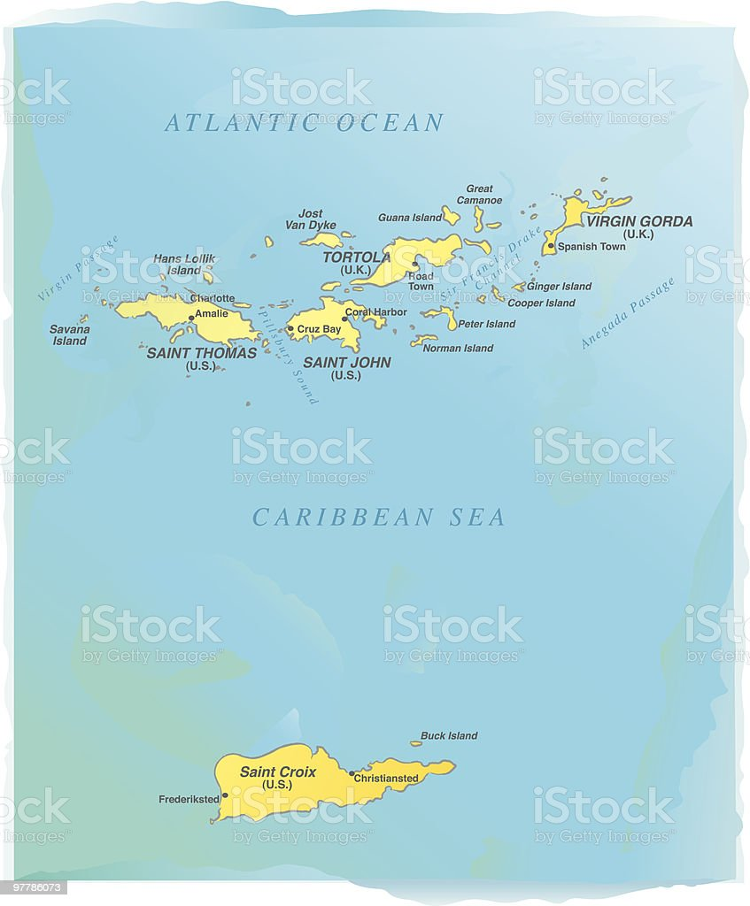 Virgin Islands map - Watercolor style royalty-free virgin islands map watercolor style stock vector art & more images of anegada