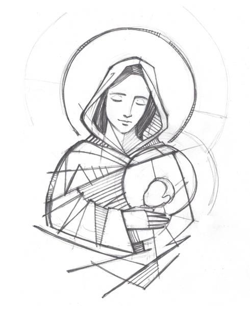 jungfrau maria und baby jesus hand gezeichnet bleistift-illustration - jungfrau maria stock-grafiken, -clipart, -cartoons und -symbole