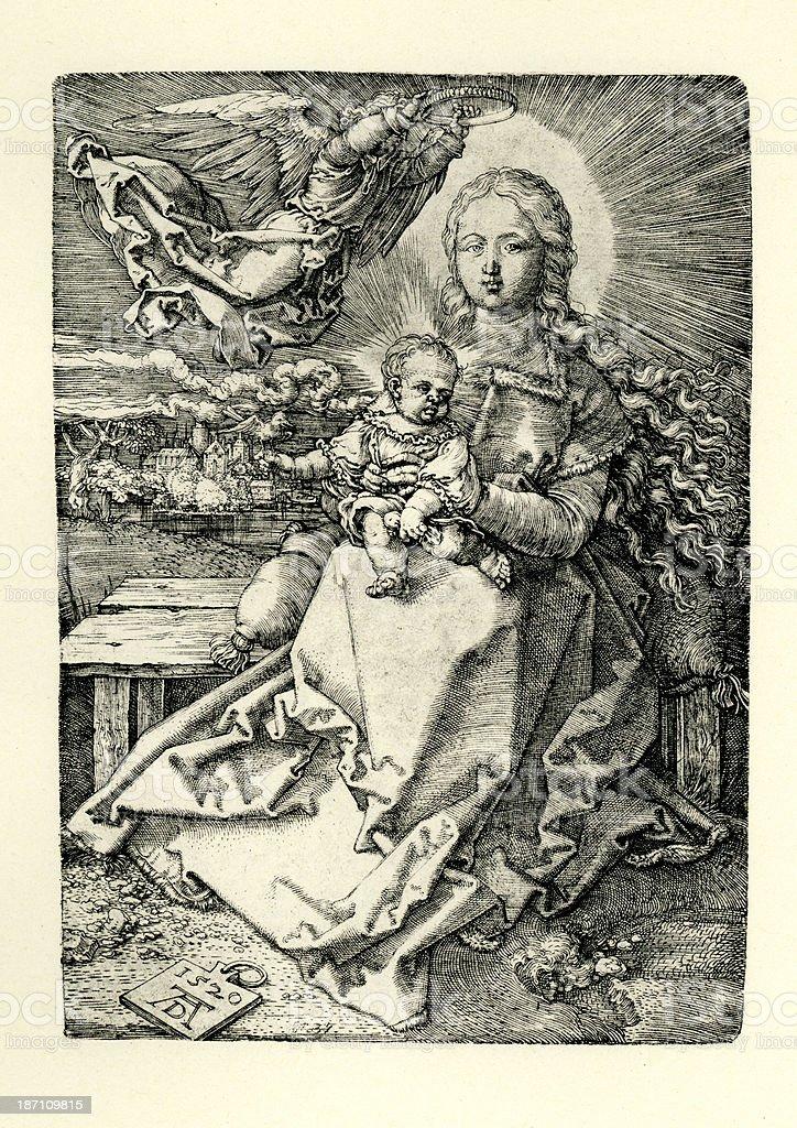 Virgin Mary and Baby Jesus vector art illustration