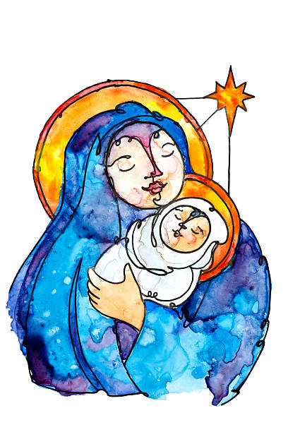 Virgin Mary and Baby Jesus with Star of Bethleham vector art illustration