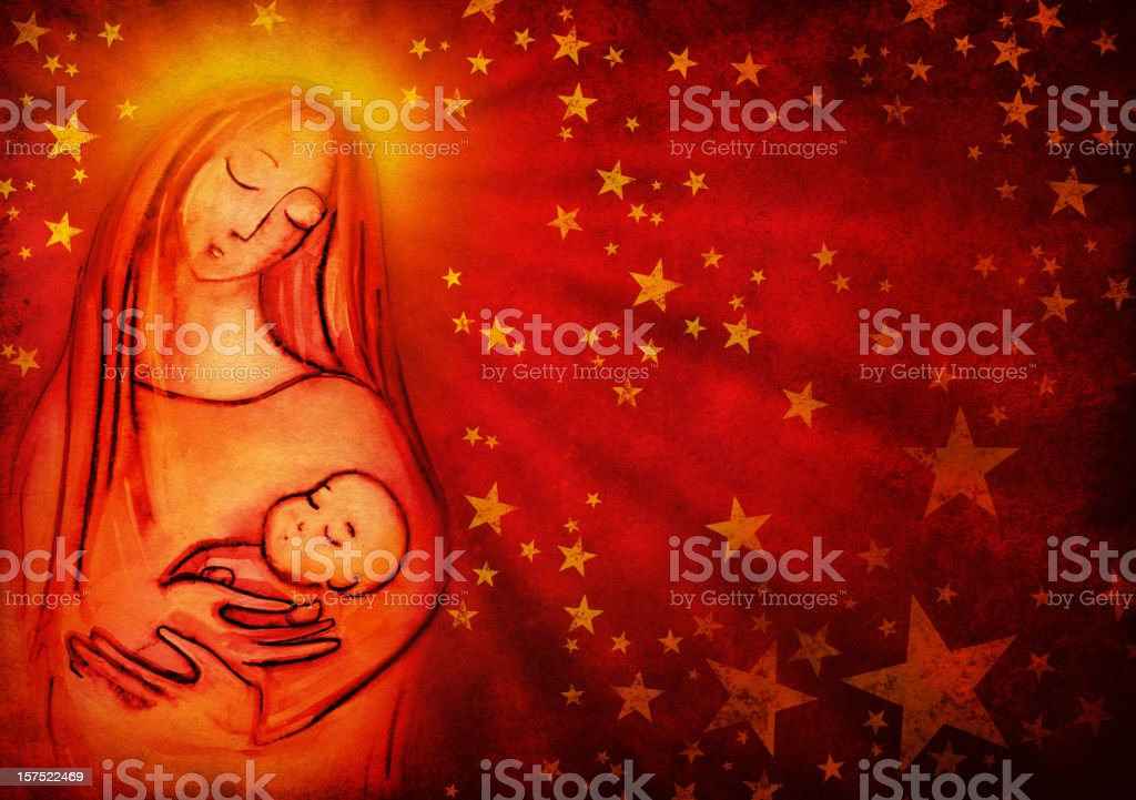 Virgin Mary and Infant Jesus royalty-free stock vector art